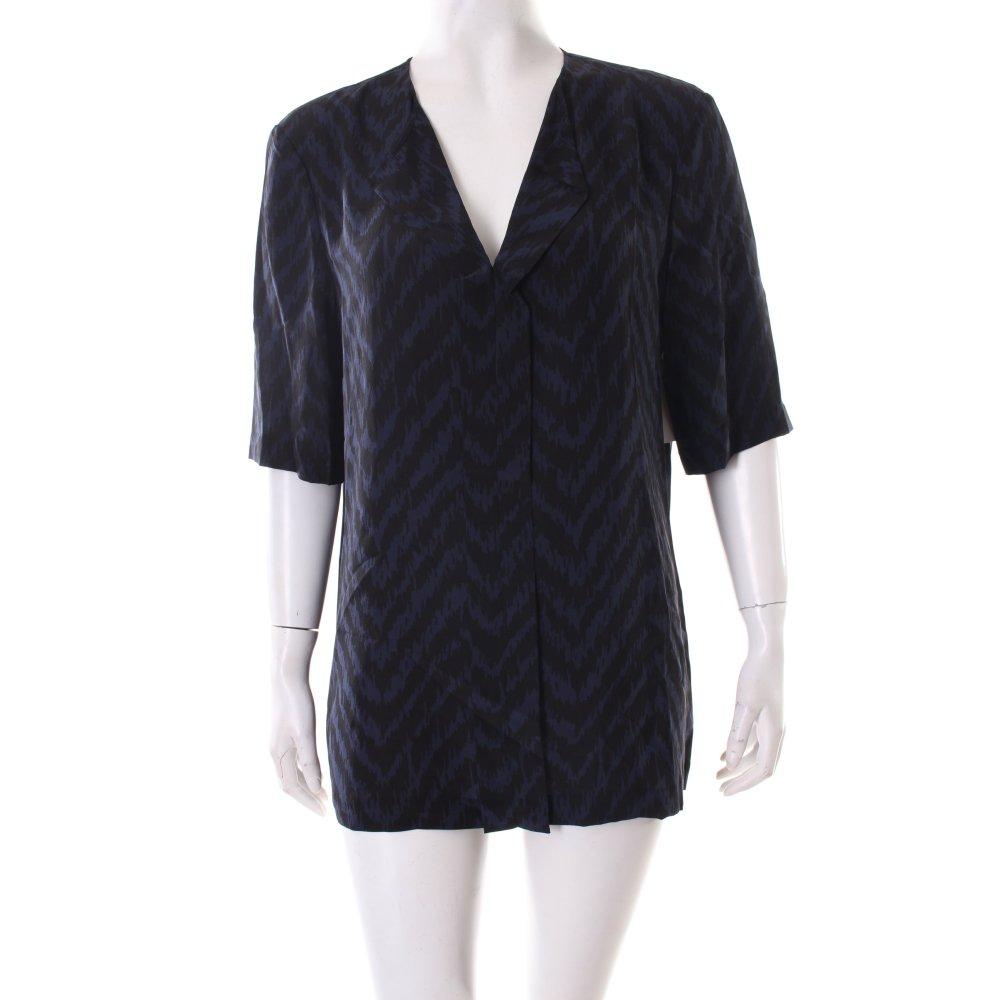 burberry kurzarm bluse schwarz dunkelblau zackenmuster damen gr de 40 blouse ebay. Black Bedroom Furniture Sets. Home Design Ideas