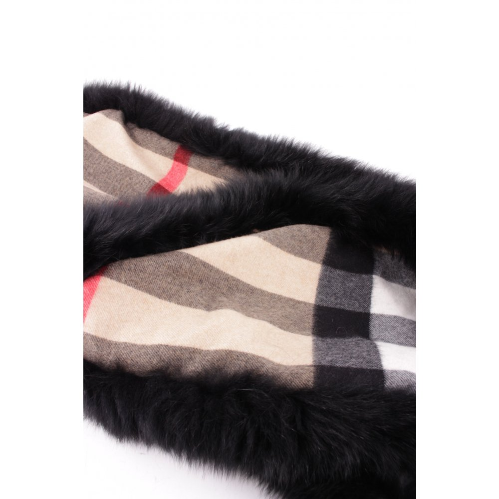 burberry schal fur trim cashmere scarf camel check damen. Black Bedroom Furniture Sets. Home Design Ideas