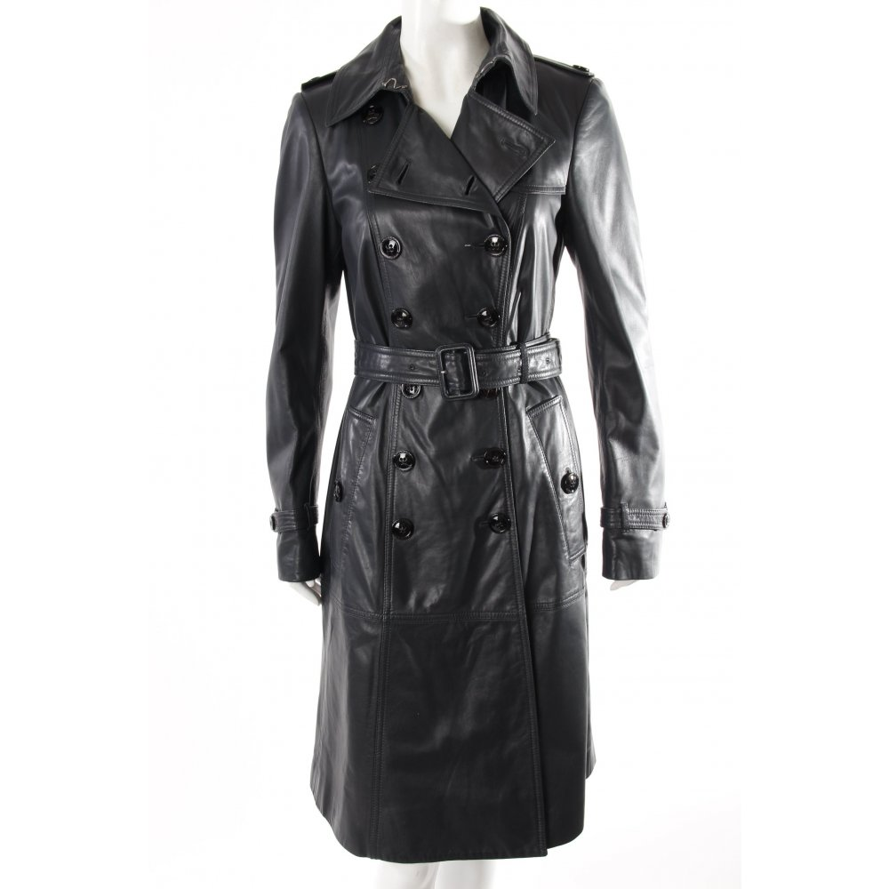 burberry trenchcoat schwarz leder damen gr de 36 mantel coat leather ebay. Black Bedroom Furniture Sets. Home Design Ideas
