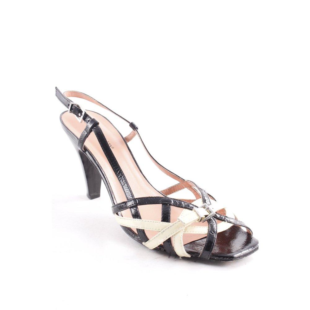 CAFNOIR Sandaletto con tacco alto nerogiallo chiaro elegante Donna Pelle