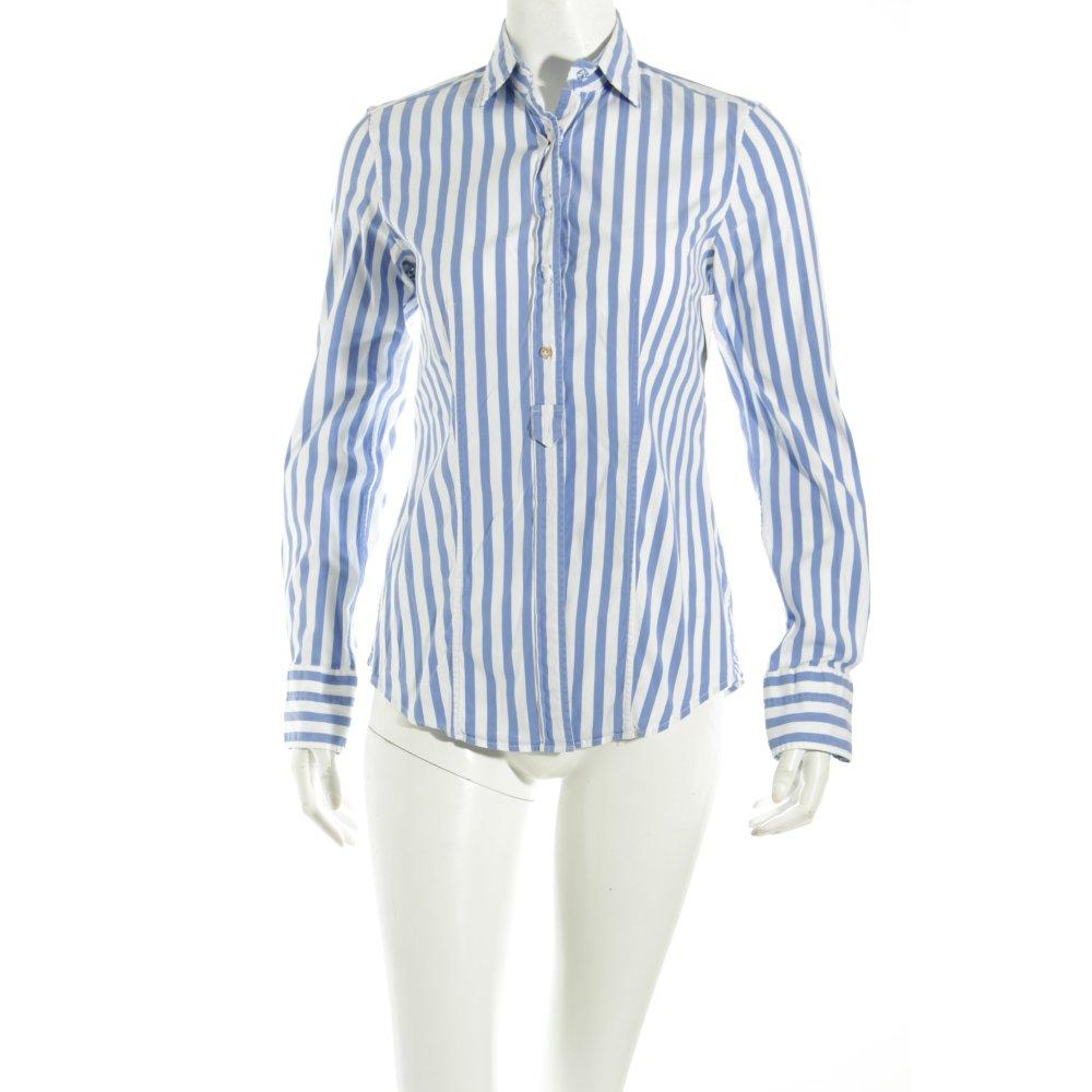 Caliban hemd bluse wei stahlblau streifenmuster for Klassischer stil