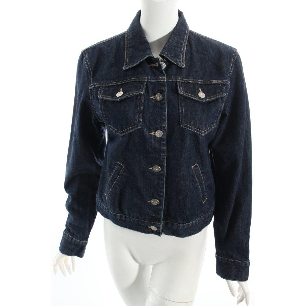 calvin klein jeansjacke dunkelblau washed optik damen gr de 40 jacke jacket ebay. Black Bedroom Furniture Sets. Home Design Ideas