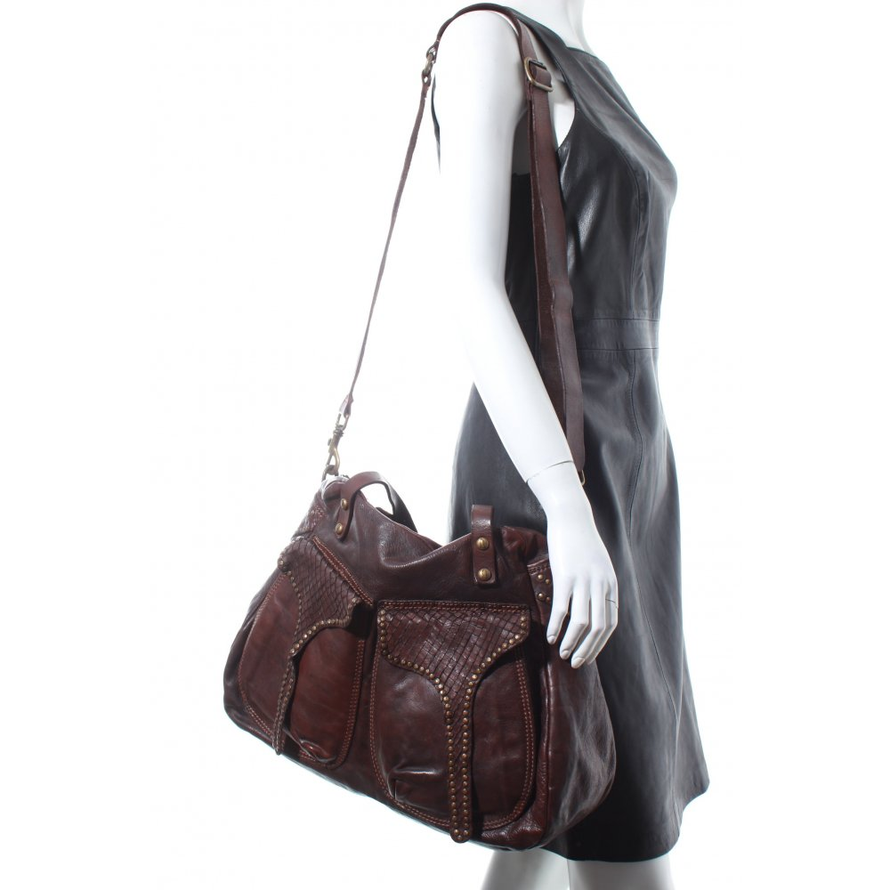 campomaggi handtasche dunkelbraun vintage look damen tasche bag leder handbag ebay. Black Bedroom Furniture Sets. Home Design Ideas