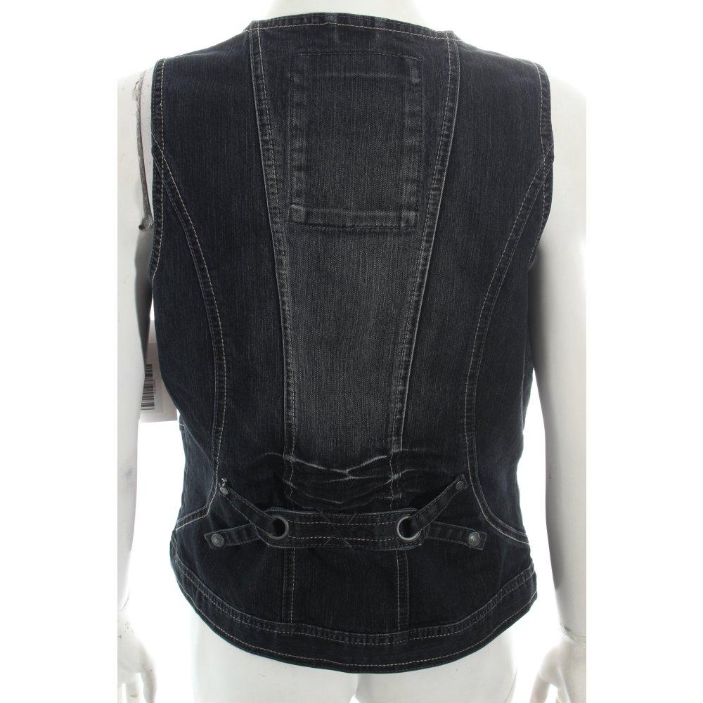 cecil jeansweste schwarz casual look damen gr de 38 weste vest denim vest ebay. Black Bedroom Furniture Sets. Home Design Ideas