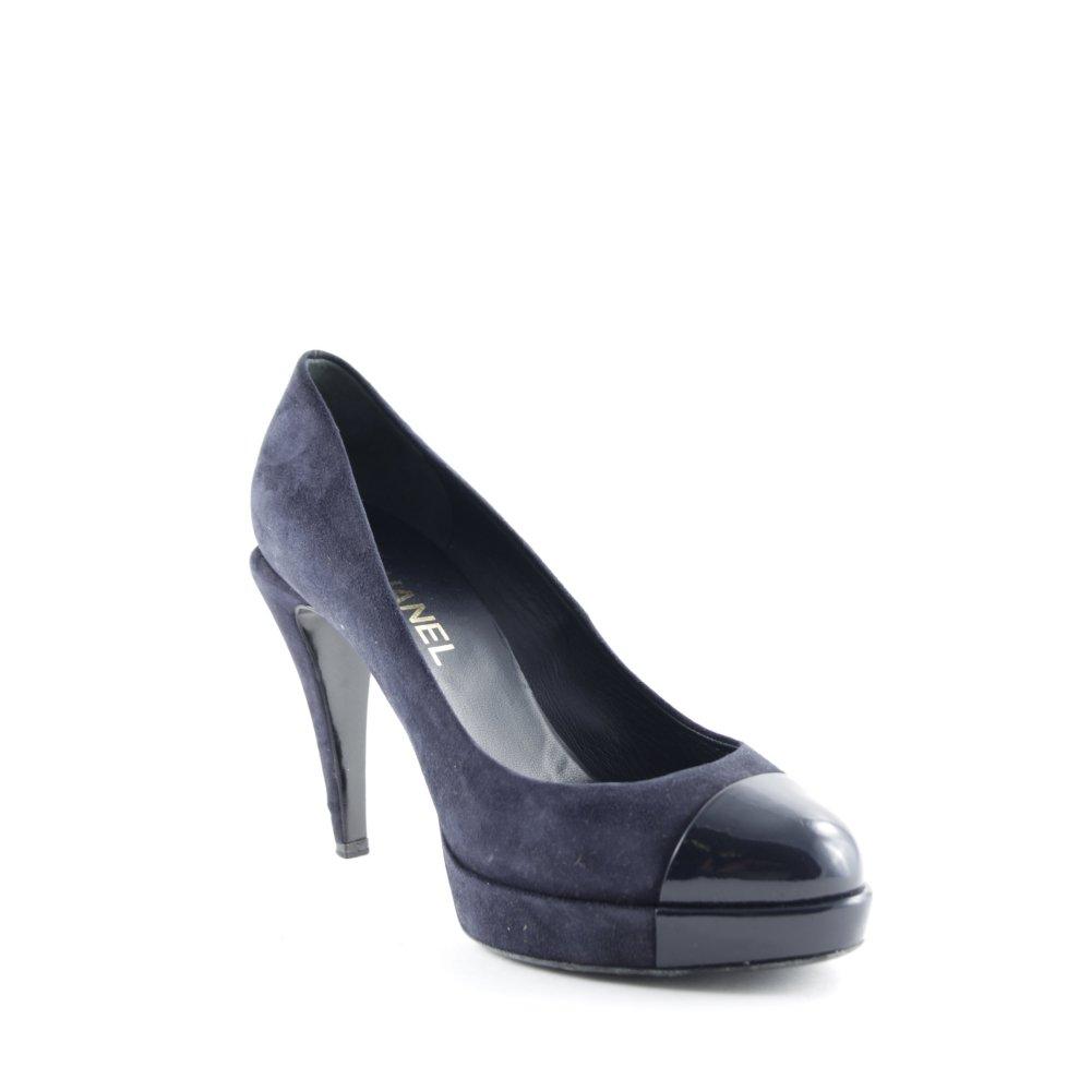 chanel high heels dunkelblau business look damen gr de 38. Black Bedroom Furniture Sets. Home Design Ideas