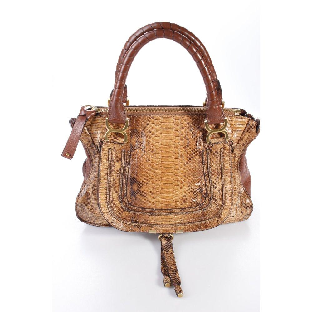 chlo handtasche marcie schlangenoptik damen braun tasche. Black Bedroom Furniture Sets. Home Design Ideas
