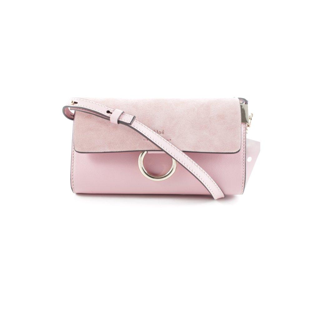 chlo minitasche faye wallet on strap suede washed pink. Black Bedroom Furniture Sets. Home Design Ideas