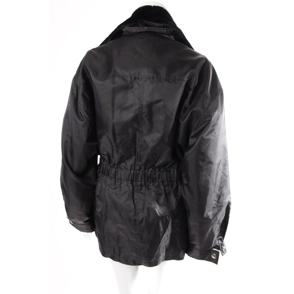 collection jacke fake fur kragen schwarz damen gr de 38 jacket blouson ebay. Black Bedroom Furniture Sets. Home Design Ideas