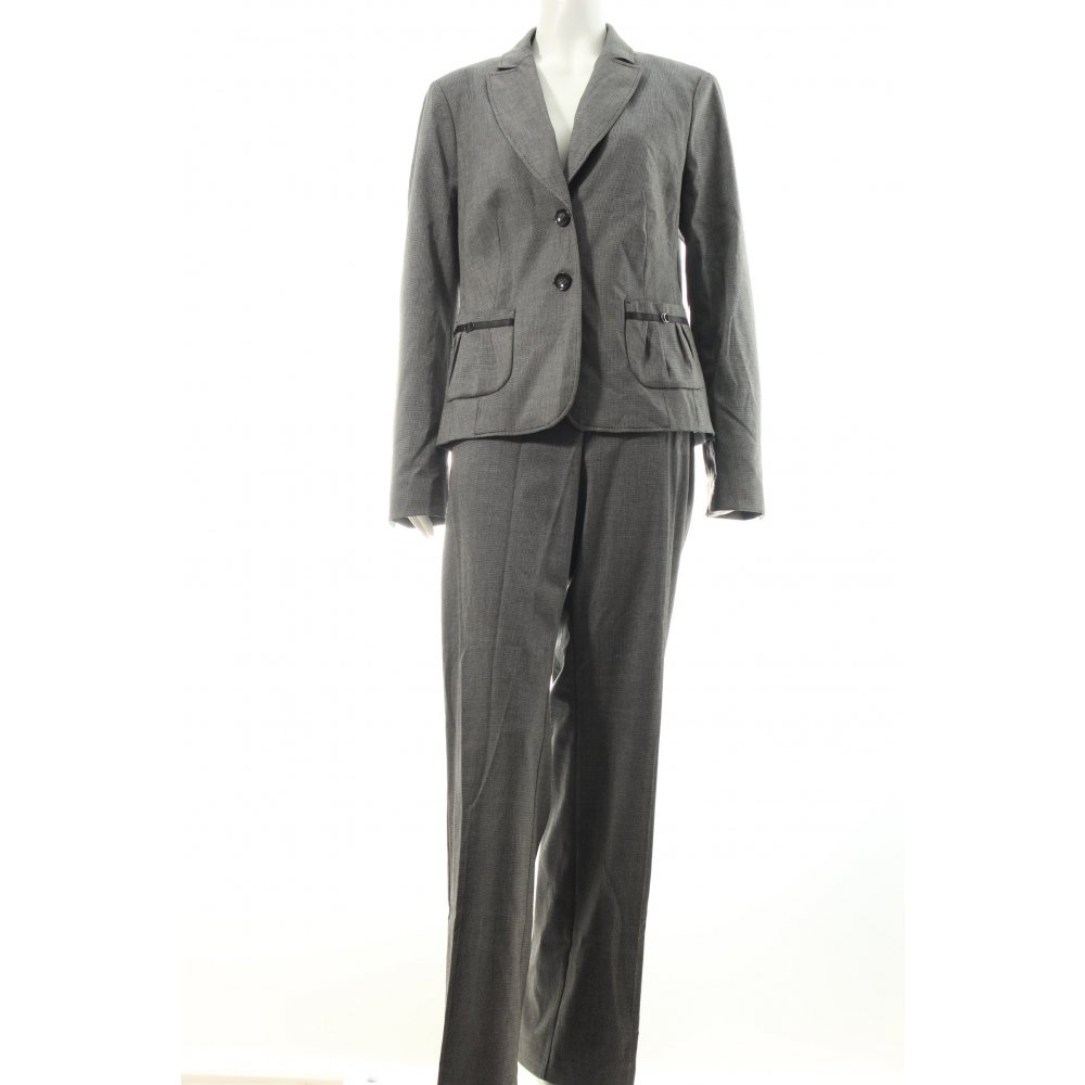 comma hosenanzug schwarz wei eleganz look damen gr de 42 anzug suit ebay. Black Bedroom Furniture Sets. Home Design Ideas