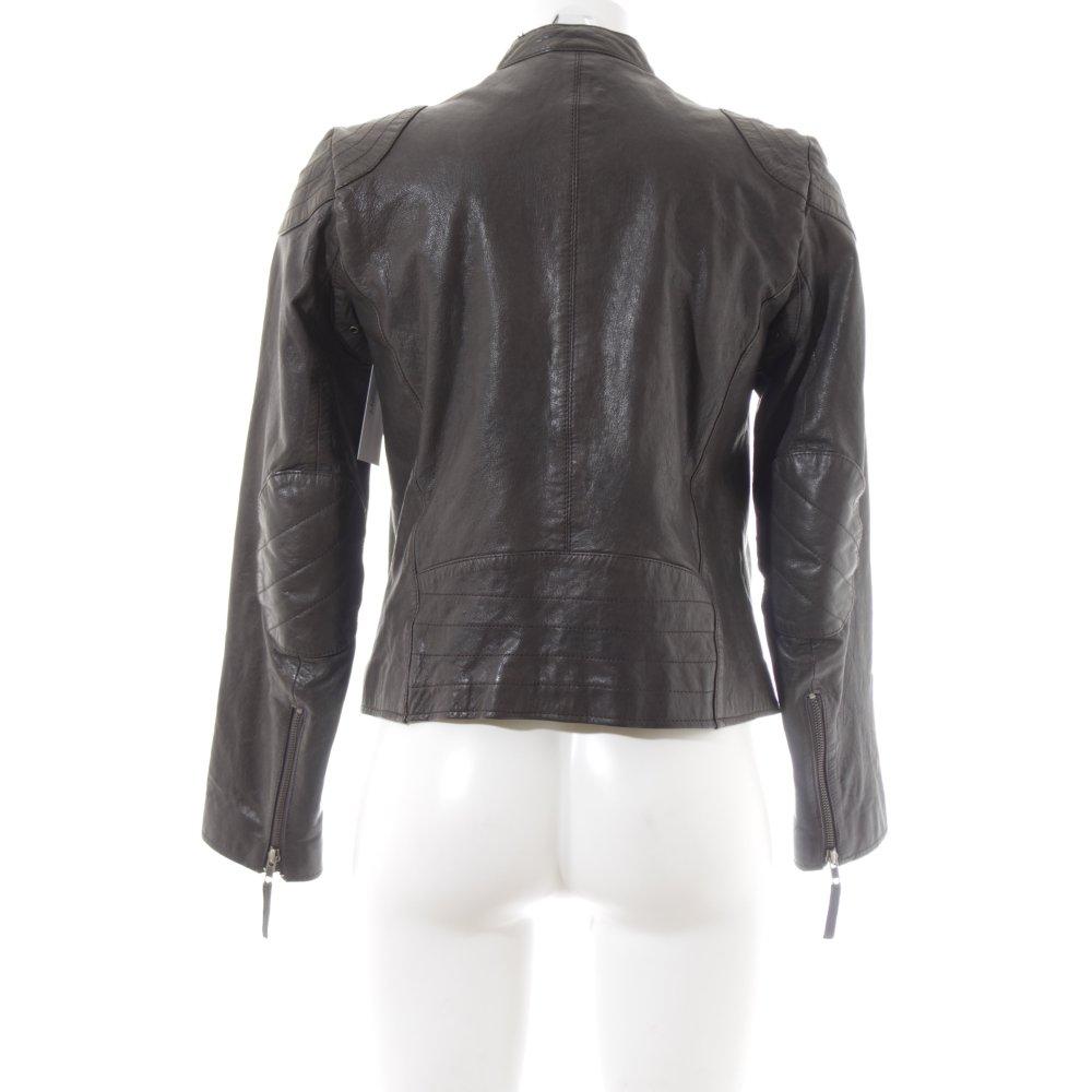 Comptoir des cotonniers veste en cuir dennai gris fonc - Veste en cuir comptoir des cotonniers ...