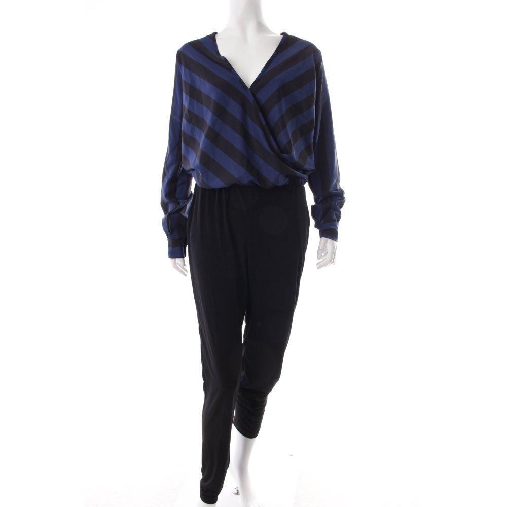 conleys jumpsuit dunkelblau schwarz abstraktes muster extravaganter stil damen. Black Bedroom Furniture Sets. Home Design Ideas