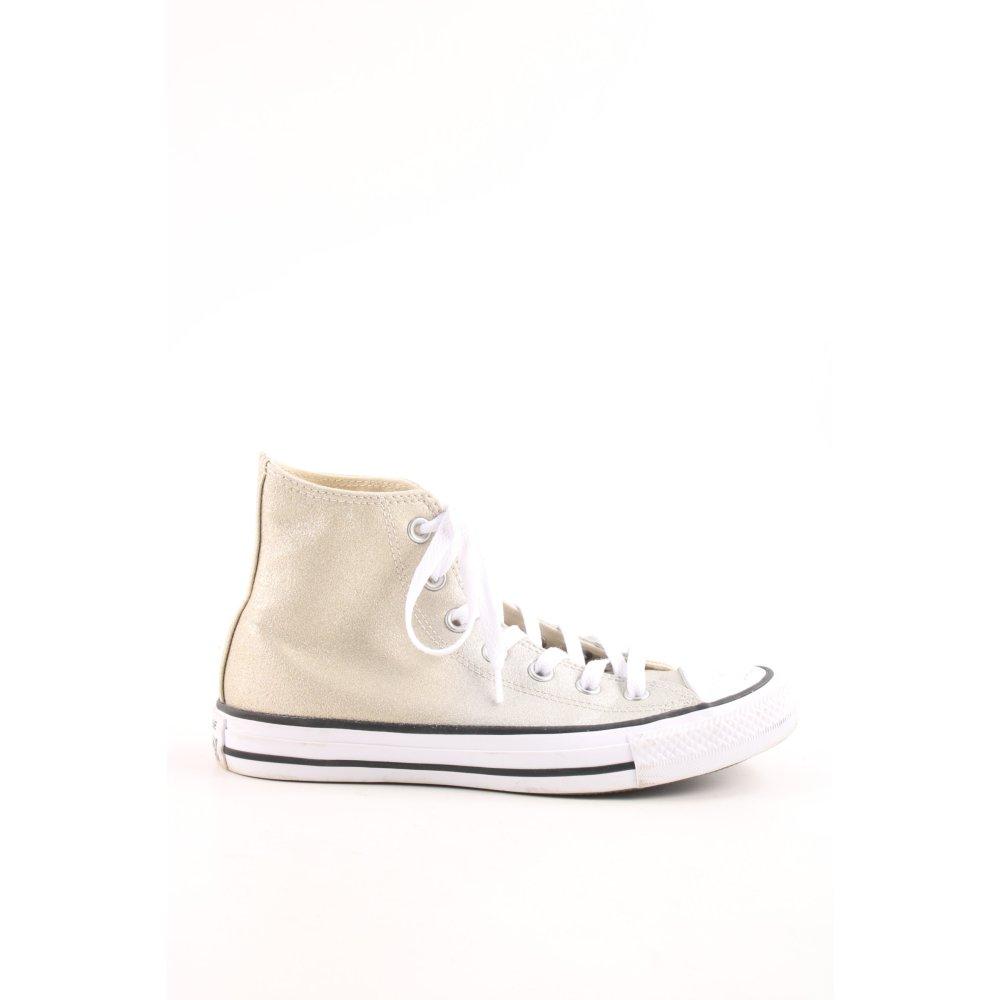 Détails sur CONVERSE Basket montante crème doré pailleté Dames T 37,5 Chaussures pour femmes