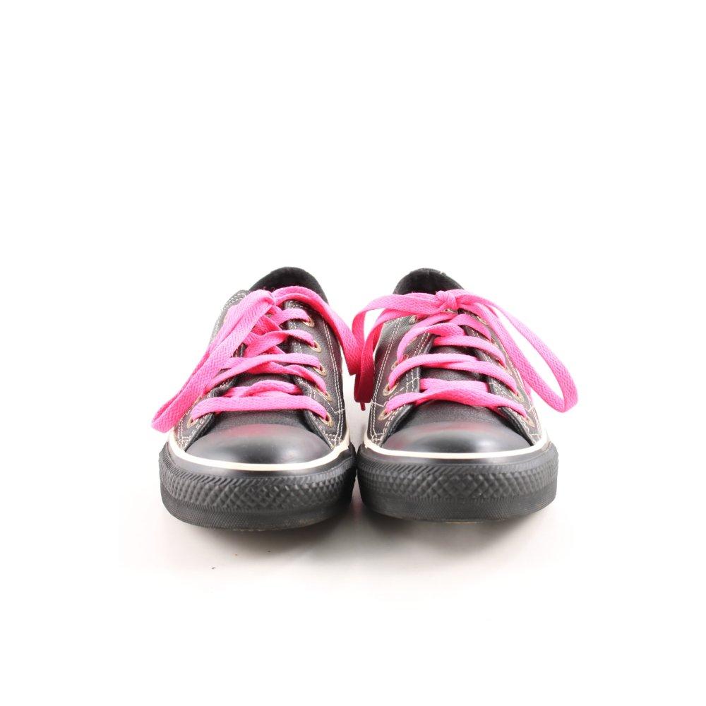 Détails sur CONVERSE Chaussures à lacets noir rose style athlétique Dames T 36,5
