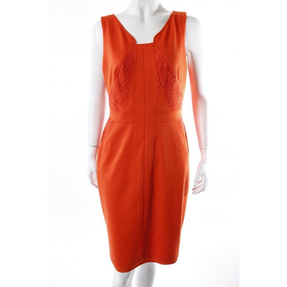 david meister kleid orange rot damen gr de 38 dress etuikleid sheath dress ebay. Black Bedroom Furniture Sets. Home Design Ideas