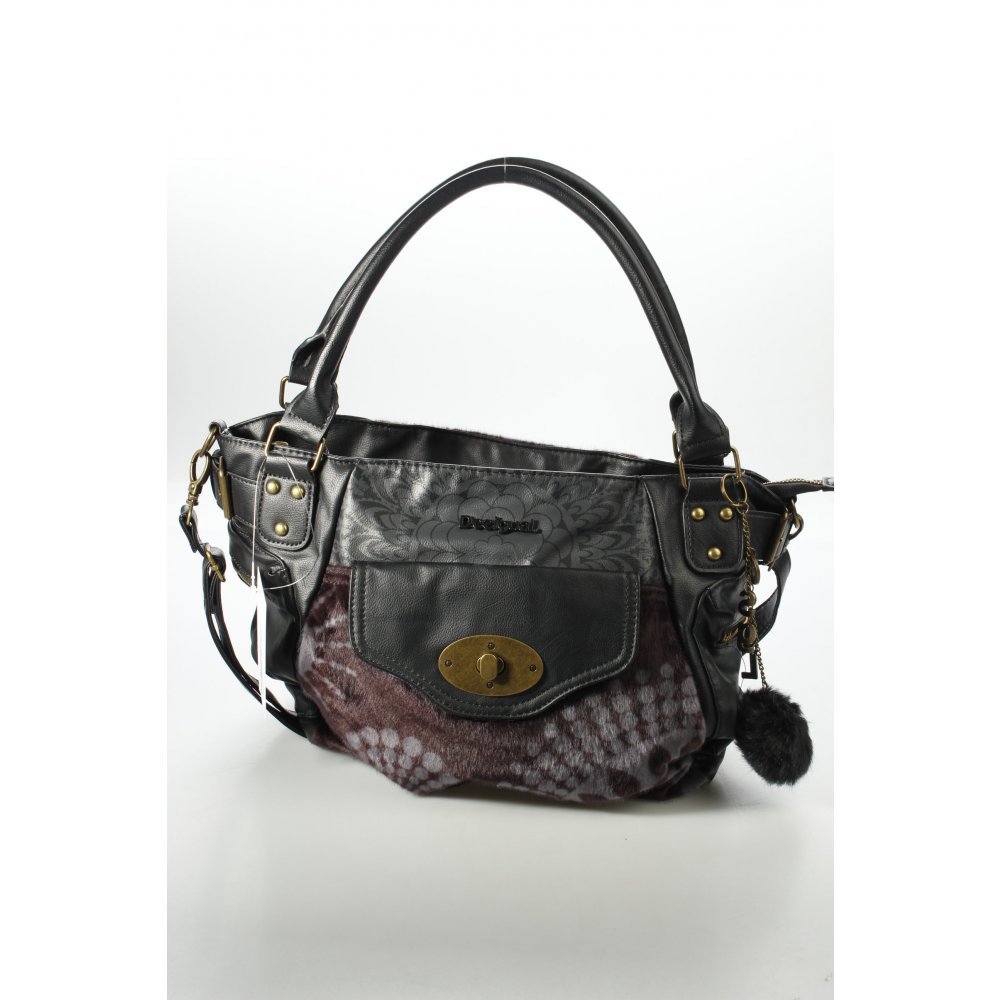 desigual handtasche schwarz grau mustermix materialmix look damen tasche bag ebay. Black Bedroom Furniture Sets. Home Design Ideas