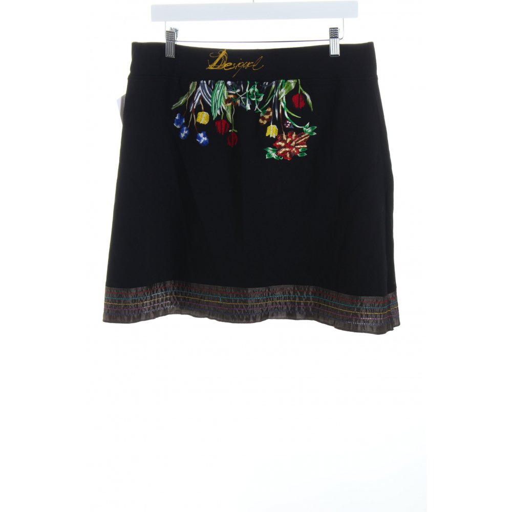desigual rock blumenmuster logoprint damen gr de 42 schwarz skirt ebay. Black Bedroom Furniture Sets. Home Design Ideas