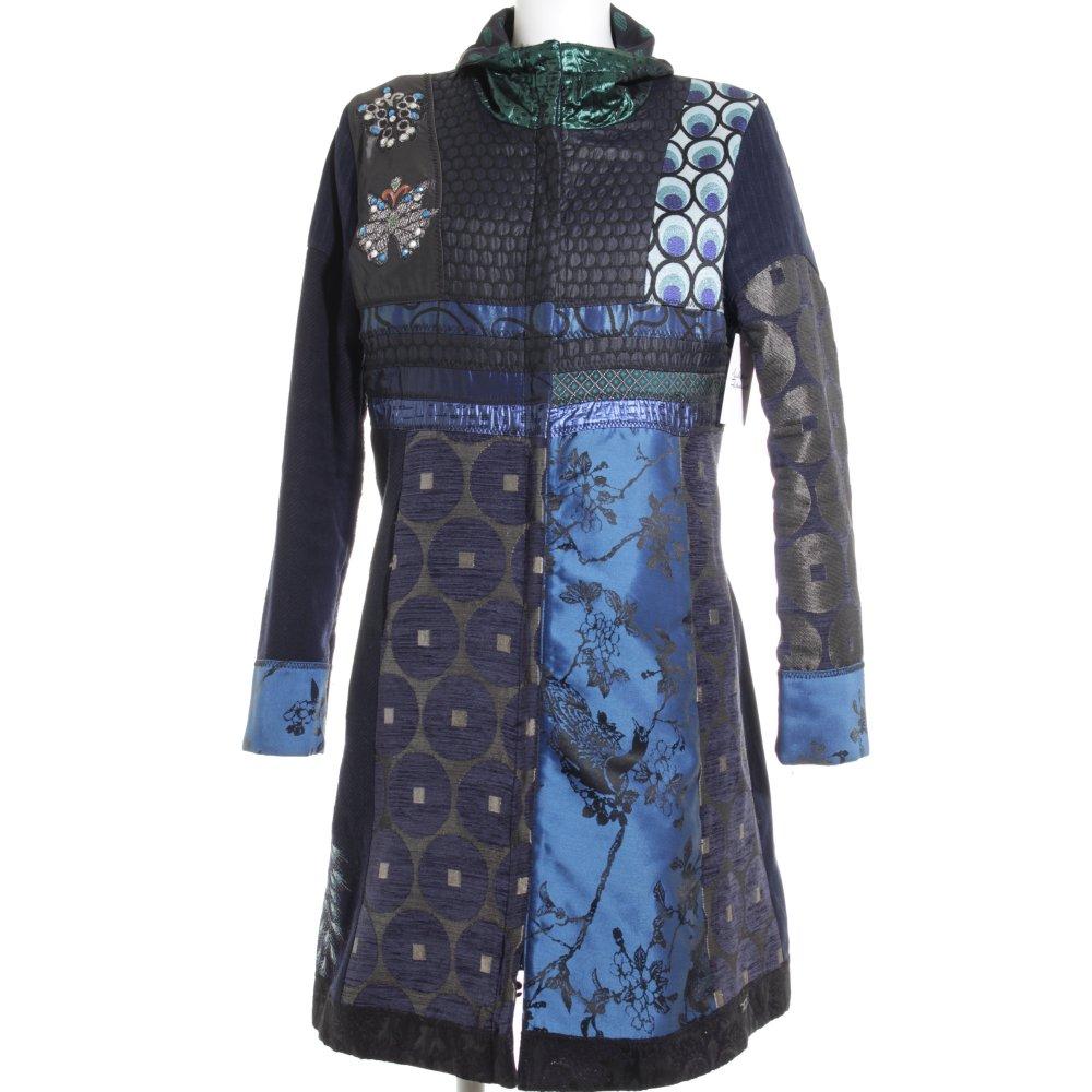 desigual manteau d hiver motif abstrait style extravagant dames t 48 bleu fonc ebay. Black Bedroom Furniture Sets. Home Design Ideas