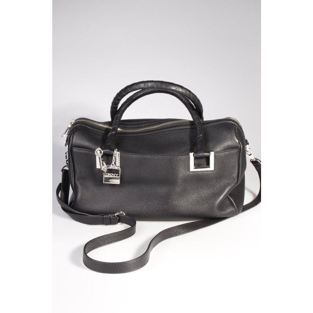 dkny handtasche schwarz damen tasche bag leder handbag ebay. Black Bedroom Furniture Sets. Home Design Ideas