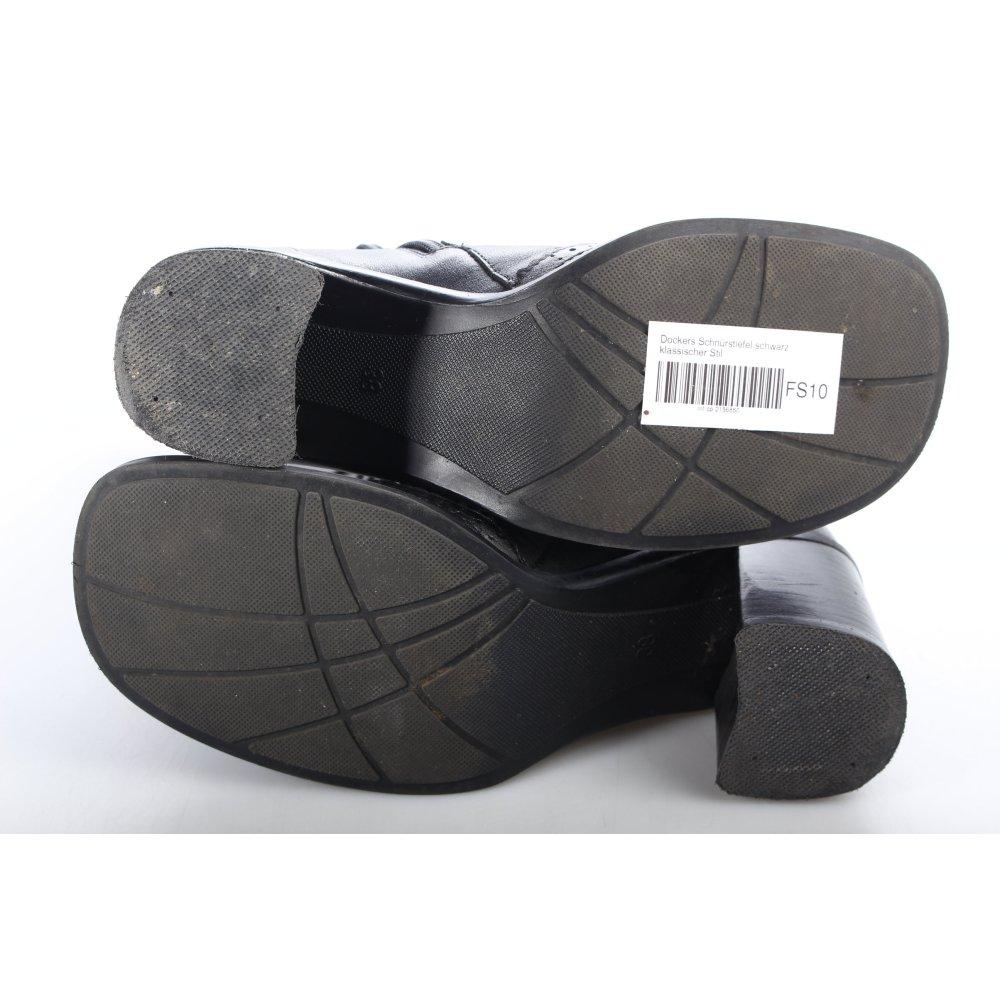 dockers schn rstiefel schwarz klassischer stil damen gr. Black Bedroom Furniture Sets. Home Design Ideas