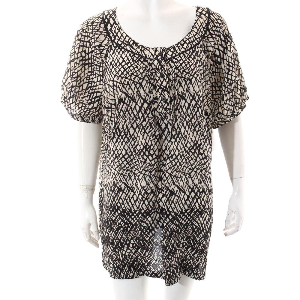 elena miro kurzarm bluse abstraktes muster damen gr de 46 schwarz blouse seide ebay. Black Bedroom Furniture Sets. Home Design Ideas