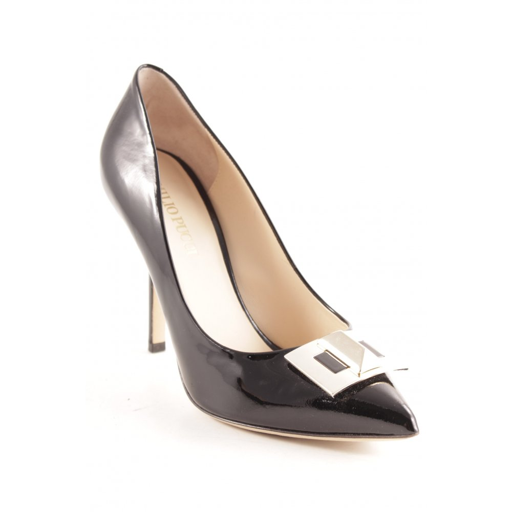 EMILIO PUCCI Tacco alto nero elegante Donna Taglia IT 37 Dcollet Pelle