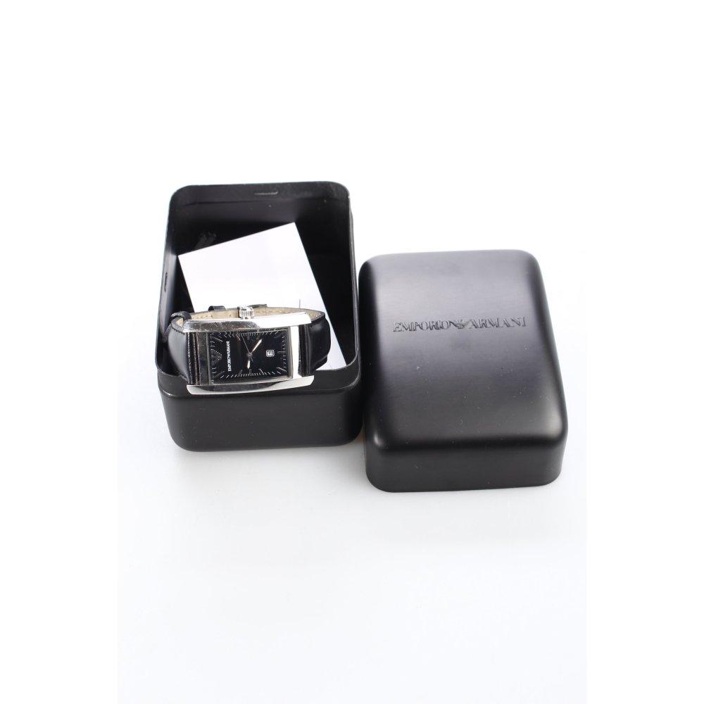 emporio armani uhr mit lederarmband schwarz silberfarben. Black Bedroom Furniture Sets. Home Design Ideas