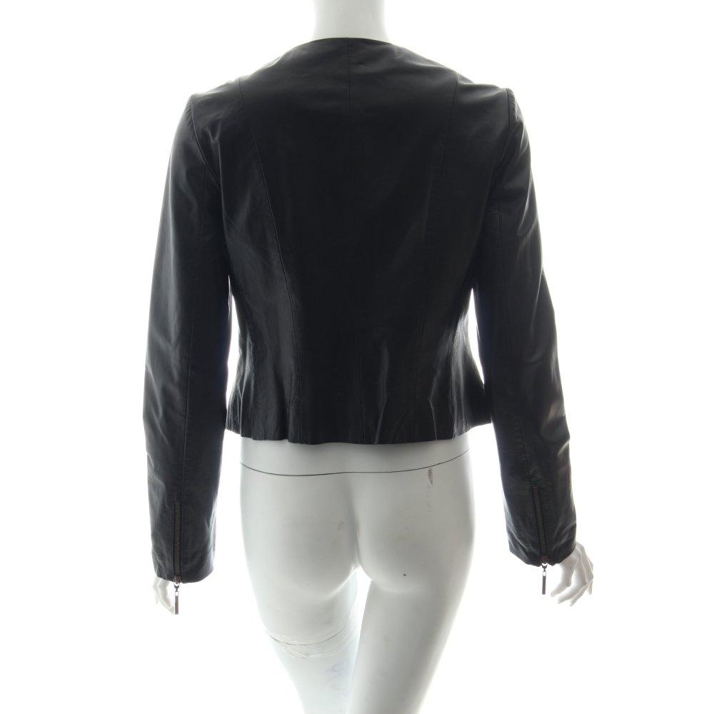 esprit lederjacke schwarz casual look damen gr de 38. Black Bedroom Furniture Sets. Home Design Ideas