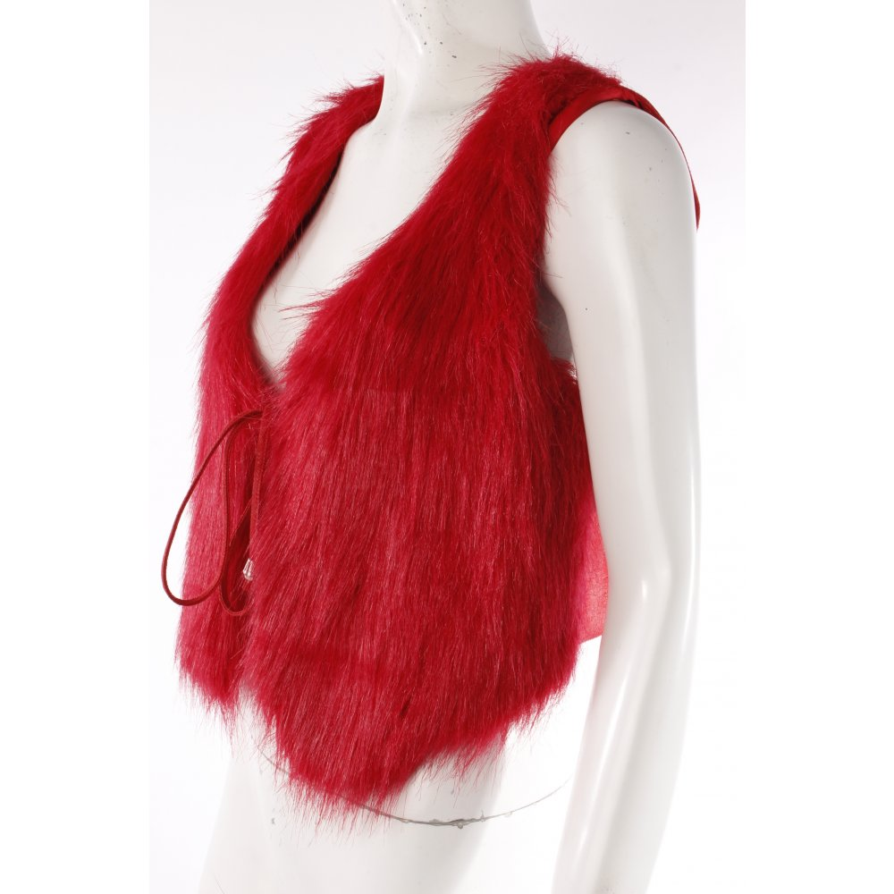 fake fur weste zum schn ren damen gr de 38 ziegelrot vest fellweste fur vest ebay. Black Bedroom Furniture Sets. Home Design Ideas