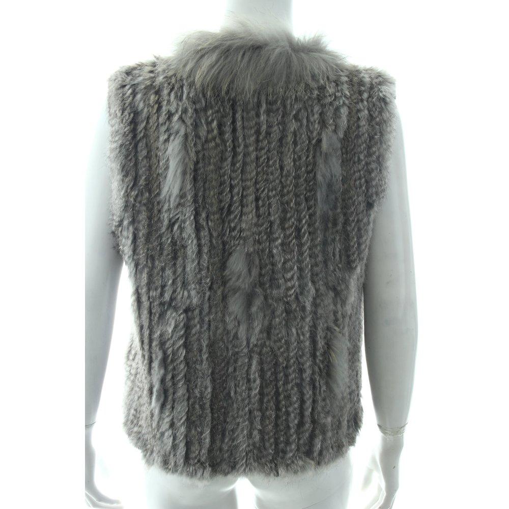 fellweste grau hellgrau extravaganter stil damen gr de 36 weste vest fur vest ebay. Black Bedroom Furniture Sets. Home Design Ideas