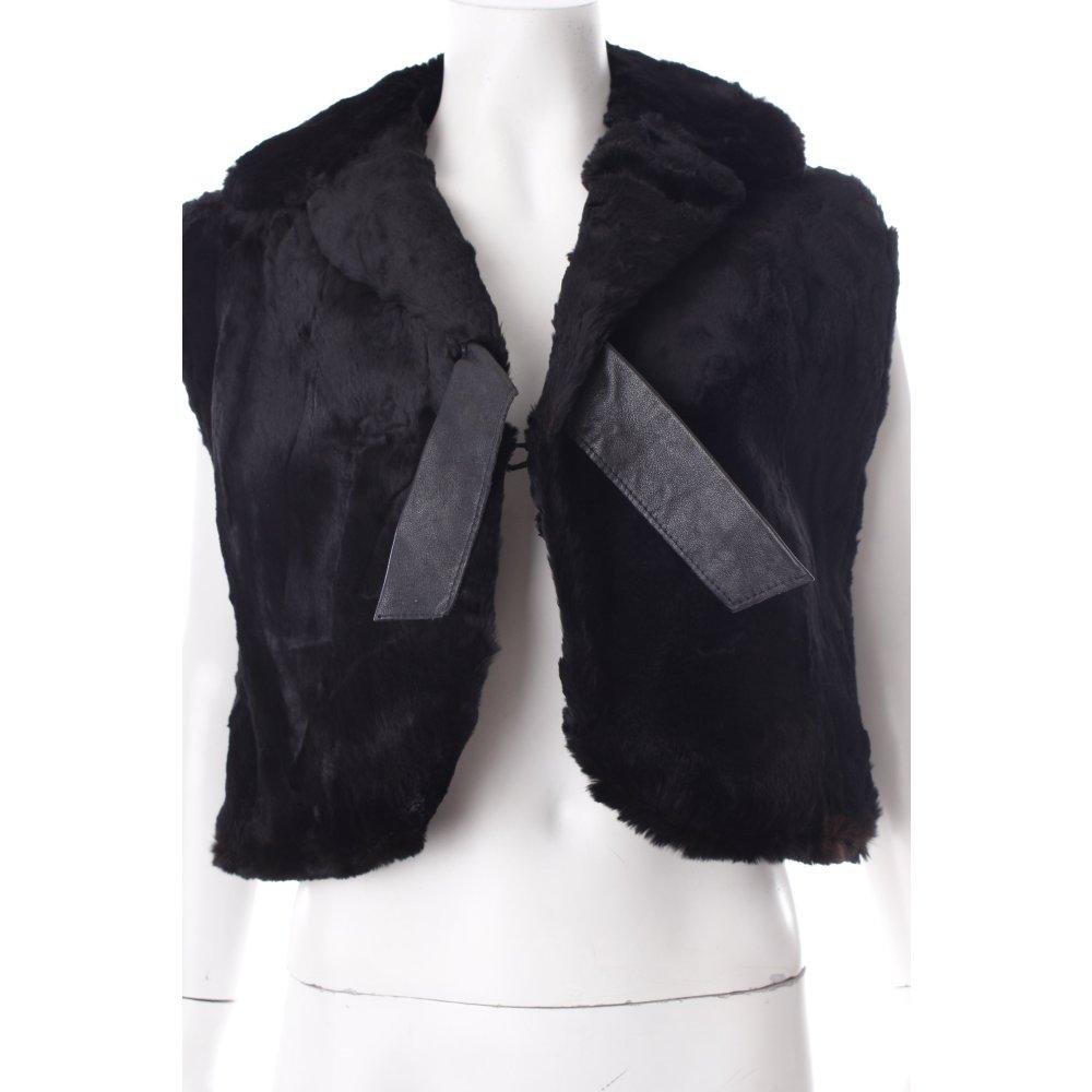 fellweste schwarz lederelemente damen gr de 40 weste vest fur vest ebay. Black Bedroom Furniture Sets. Home Design Ideas