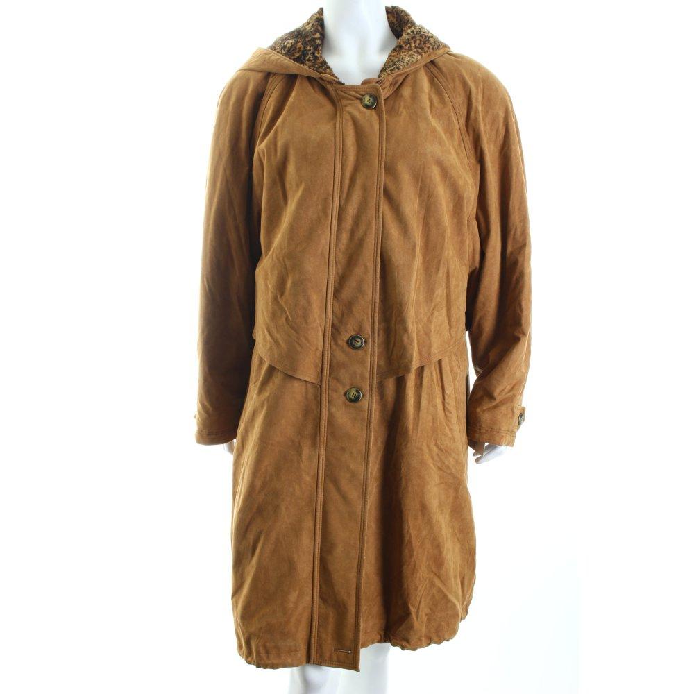 fuchs schmitt mantel camel schwarz leomuster vintage look. Black Bedroom Furniture Sets. Home Design Ideas