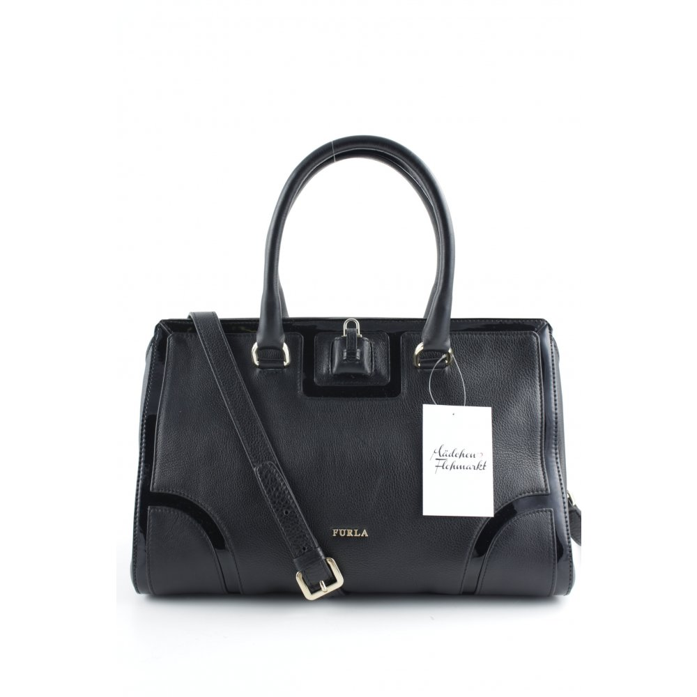 furla henkeltasche schwarz elegant damen tasche bag carry. Black Bedroom Furniture Sets. Home Design Ideas