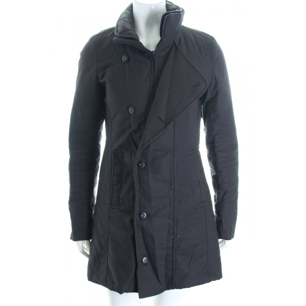 g star wintermantel schwarz schlichter stil damen gr de 36 mantel coat ebay. Black Bedroom Furniture Sets. Home Design Ideas