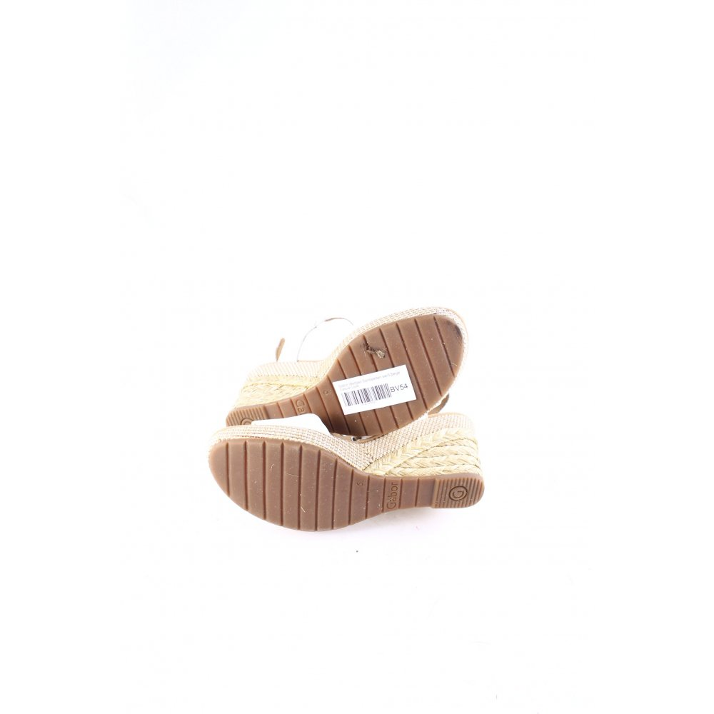 gabor wedge sandals white beige casual look women s size uk 6 women s shoes ebay. Black Bedroom Furniture Sets. Home Design Ideas