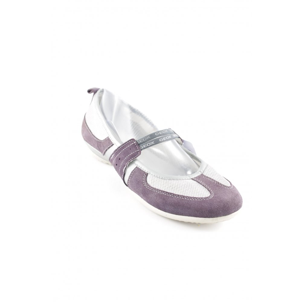 GEOX Ballerina con cinturino viola grigio argento stile casual Donna Pelle