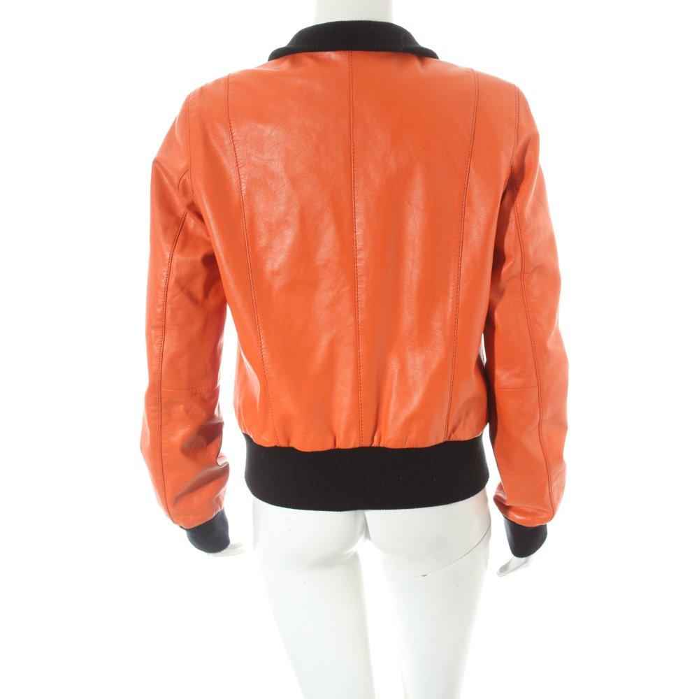gipsy lederjacke orange schwarz street fashion look damen. Black Bedroom Furniture Sets. Home Design Ideas