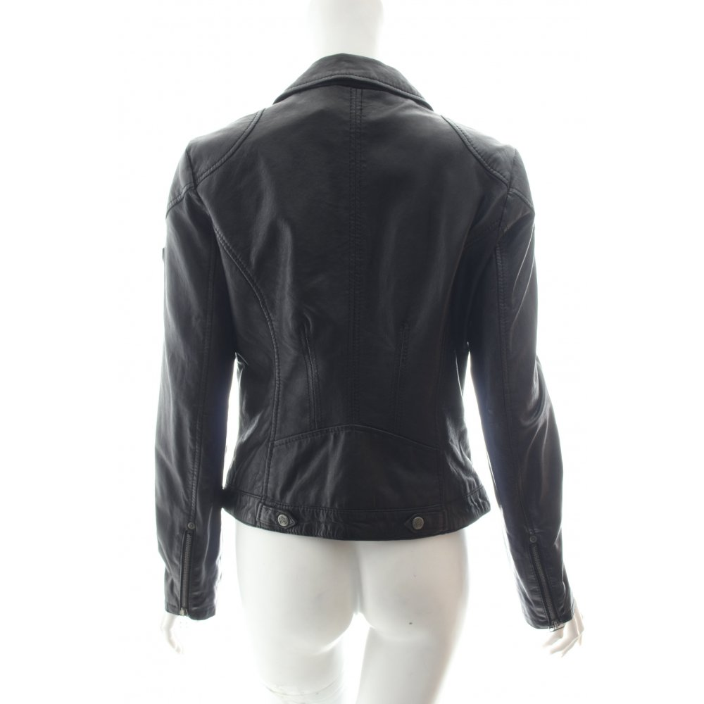 gipsy lederjacke schwarz biker look damen gr de 38 jacke. Black Bedroom Furniture Sets. Home Design Ideas
