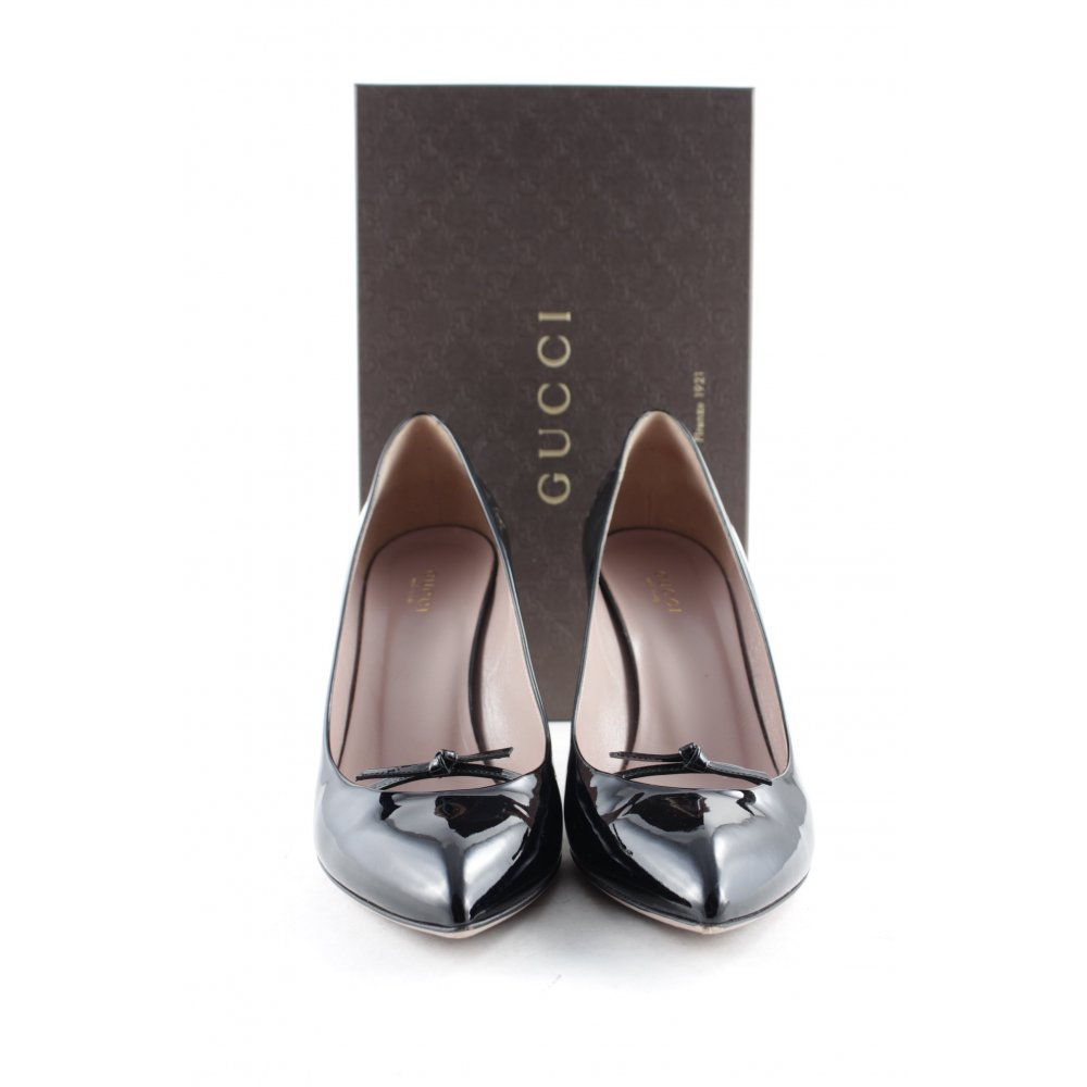 gucci spitz pumps schwarz lack optik damen gr de 39 5 leder pointed toe pumps ebay. Black Bedroom Furniture Sets. Home Design Ideas