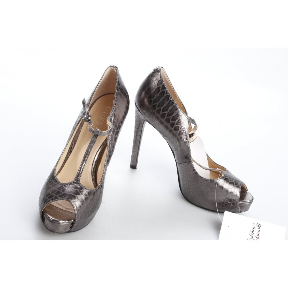 guess high heels anthracite silver colored animal pattern party style women s ebay. Black Bedroom Furniture Sets. Home Design Ideas