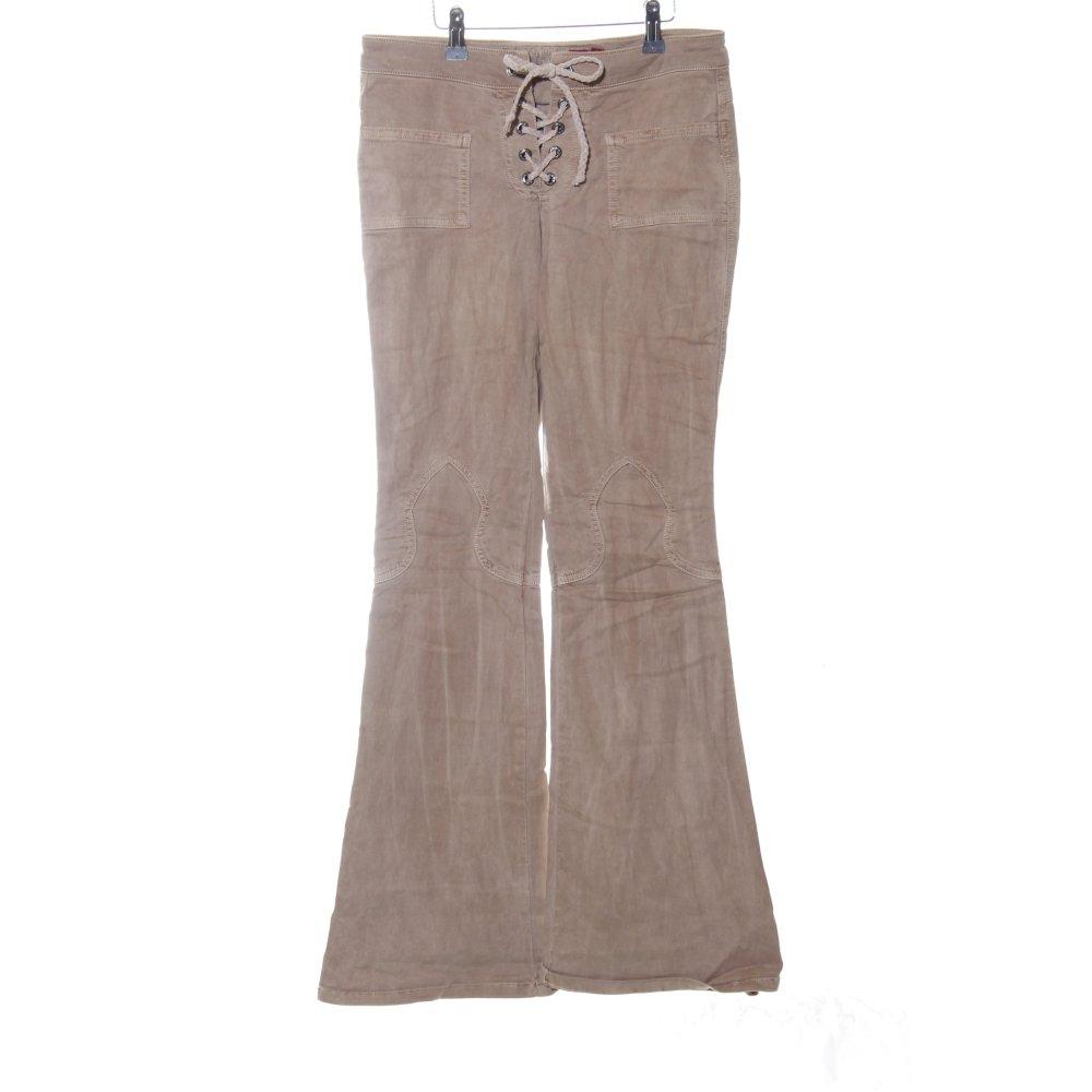 GUESS JEANS Pantalone a zampa d'elefante marrone stile casual Donna Taglia IT 42 | eBay