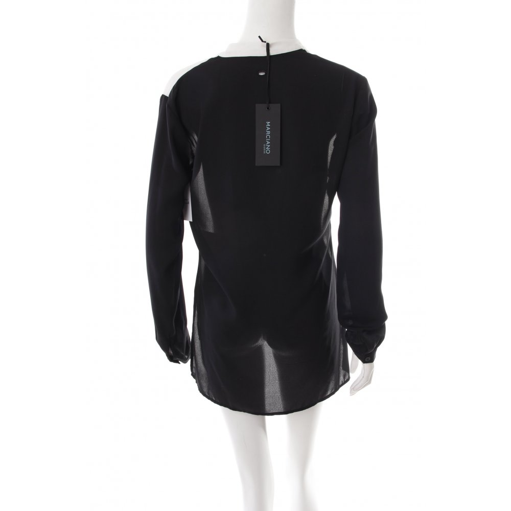 guess langarm bluse schwarz wei damen gr de 40 blouse. Black Bedroom Furniture Sets. Home Design Ideas