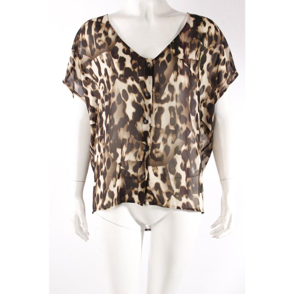 guess oversize shirt leomuster damen gr de 38 graubraun. Black Bedroom Furniture Sets. Home Design Ideas