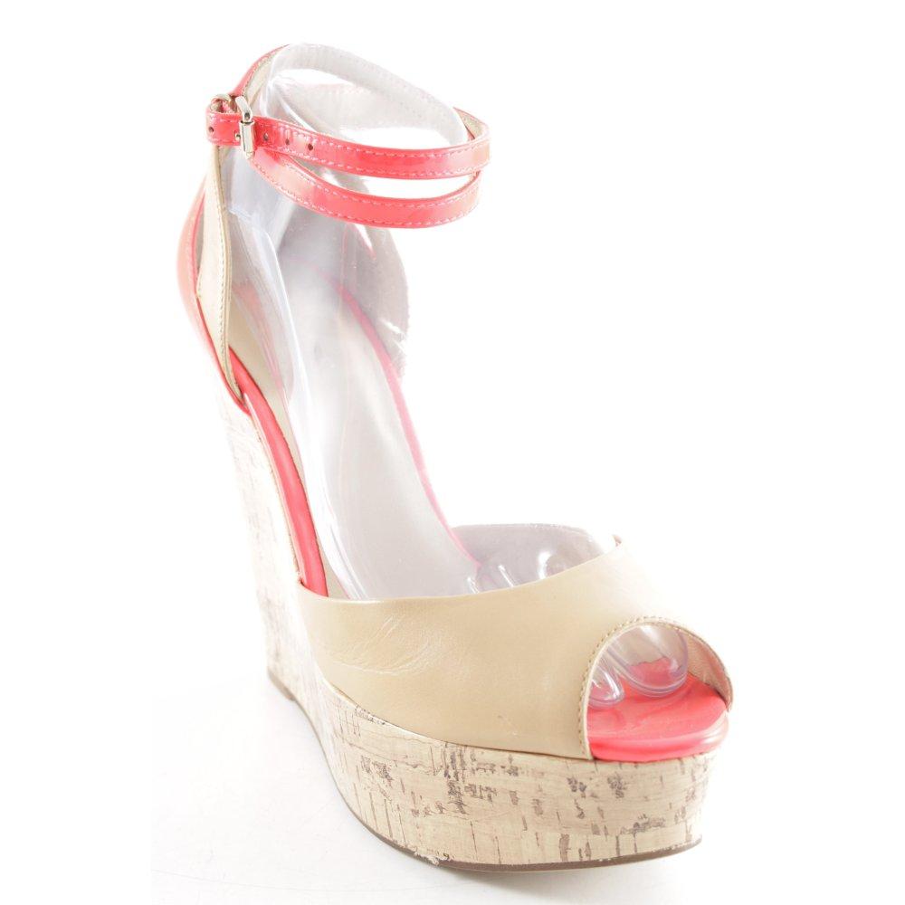 GUESS Sandalo alto con plateau beigerosso neon similpelle Donna Taglia IT 39