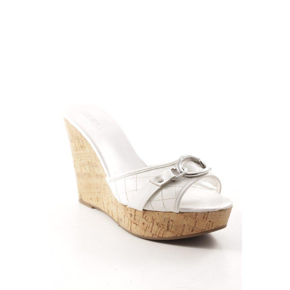 GUESS Sandalo a zeppa biancoargento stile casual Donna Taglia IT 38 Pelle