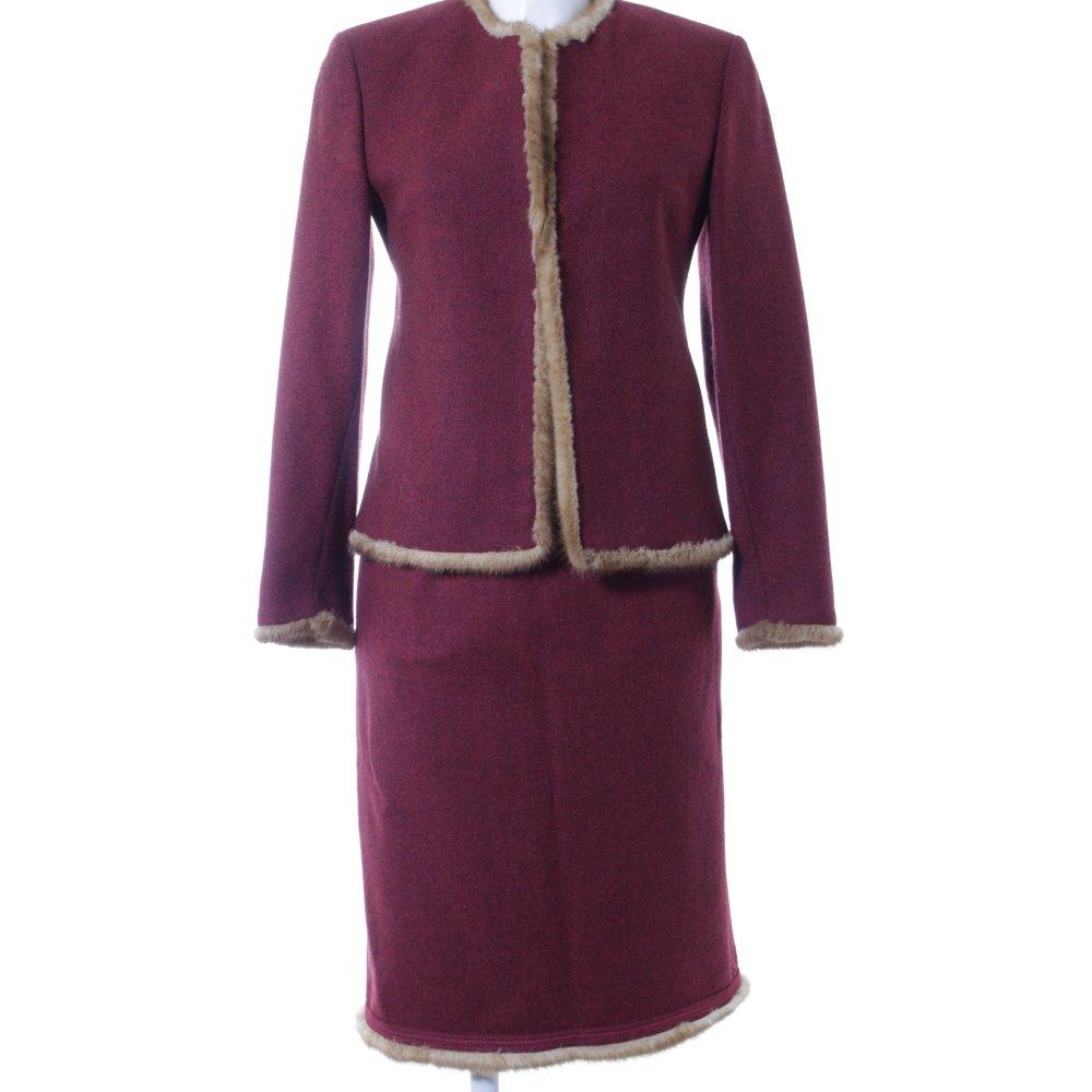 Dettagli su GUY ROVER Tailleur rosso scuro color cammello puntinato elegante Donna