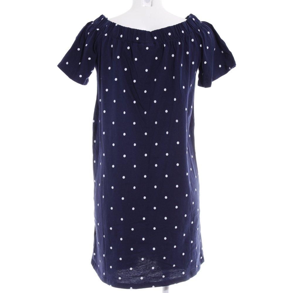 H&M A-Linien Kleid dunkelblau-weiß Punktemuster Paris-Look ...