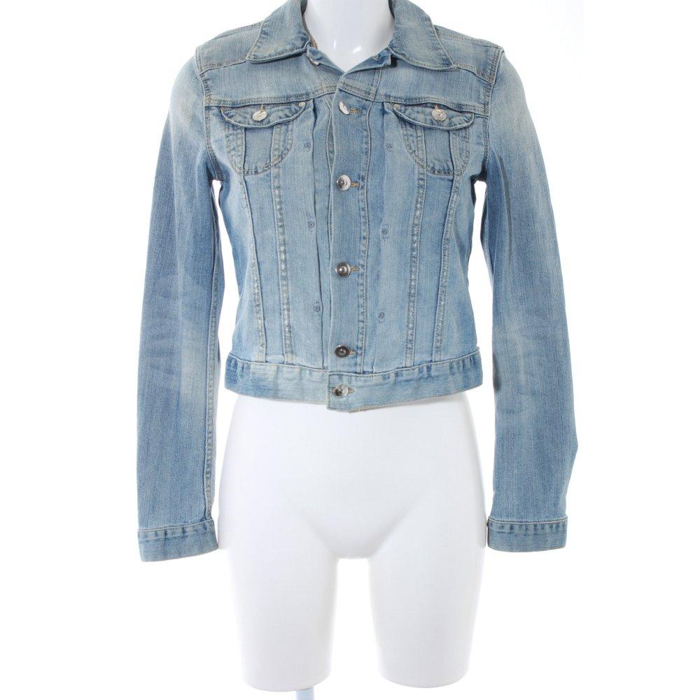 Dettagli su H&M Giacca denim azzurro stile casual Donna Taglia IT 40