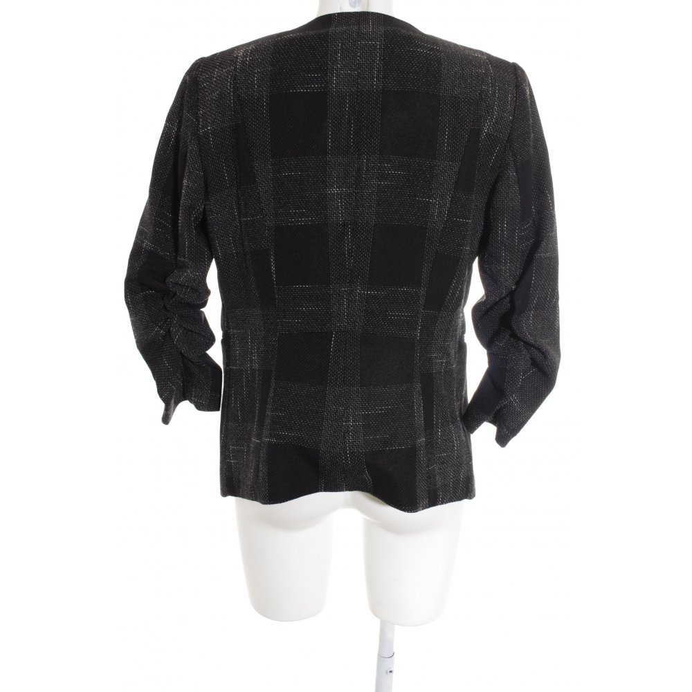 h m kurz blazer schwarz wei business look damen gr de 42. Black Bedroom Furniture Sets. Home Design Ideas