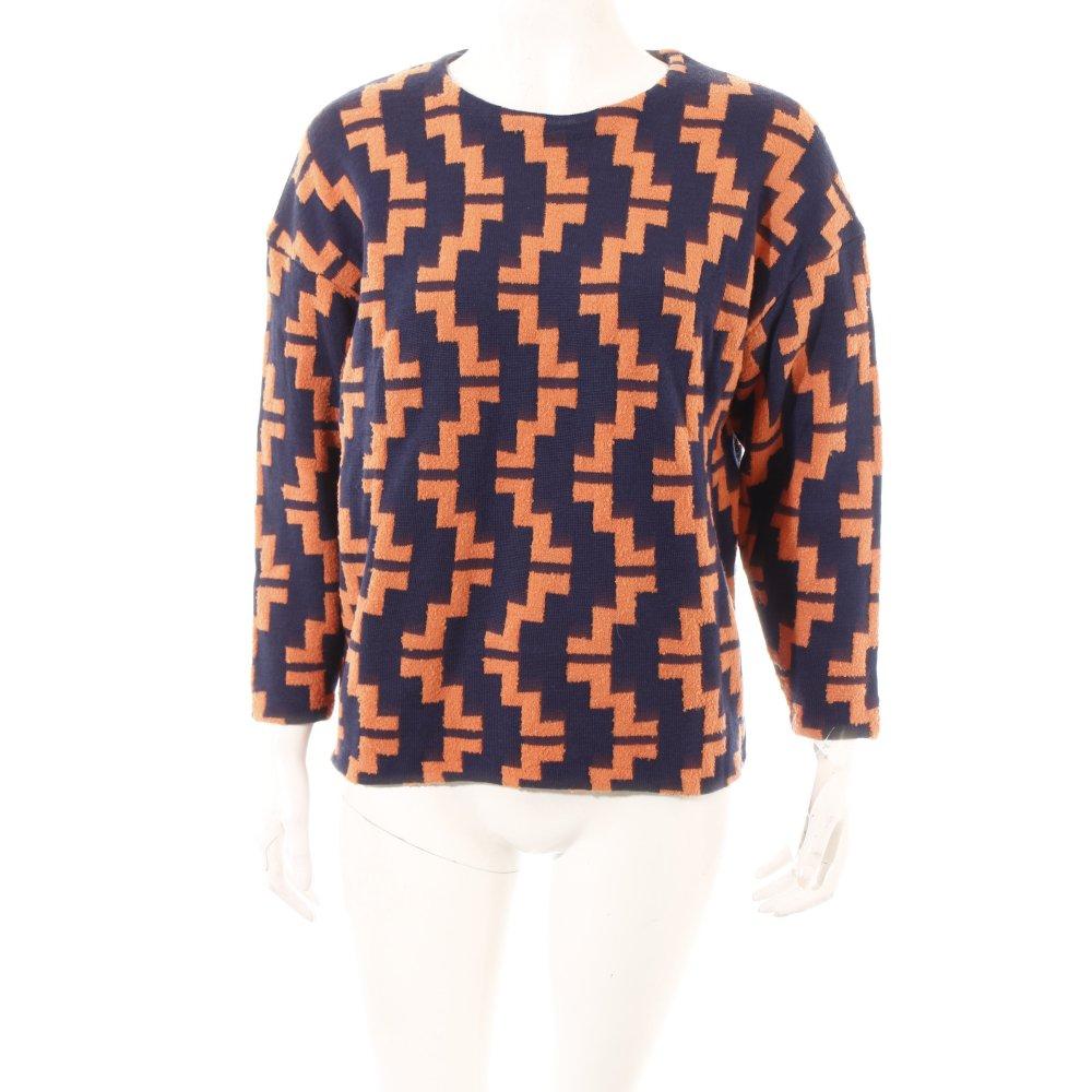 h m pullover dunkelblau orange abstraktes muster casual. Black Bedroom Furniture Sets. Home Design Ideas