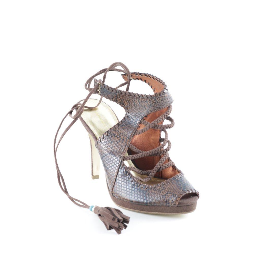 HM Sandalo con cinturino e tacco alto multicolore stampa rettile Donna marrone
